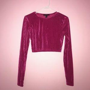 Pink Velvet Ribbed Crop